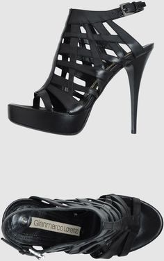 Gianmarco Lorenzi Black Platform Sandals  #GML #Shoes #Heels
