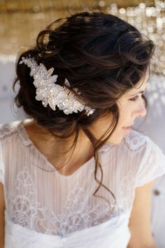 rustic updos | Loose Updo With Vintage Chic Accessory. Rustic beach wedding in The ...