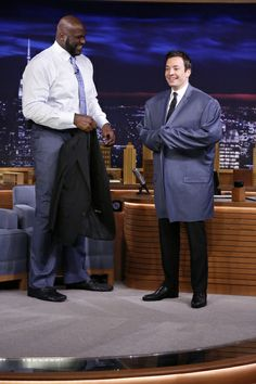 Jimmy trying on Shaquille O'Neal's blazer