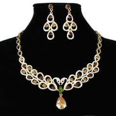 Gold Plate Champagne Zircon Swan Bridal Ball Evening Party Jewelry Set SKU-10801284
