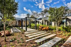 The design incorporates glass and steel to provide a more contemporary and modern geometric feel. The rock facades pay homage to old farmstead. Farmhouse Design, Modern Farmhouse, Bay Window, The Rock, Entrance, Outdoor Living, Pergola, Contemporary, Facades