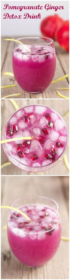 Healthy and refreshing Ginger, Lemon and Pomegranate Detox drink. It's easy to make in 5 minutes and best served with a lot of ice. #DetoxBodyCleanse