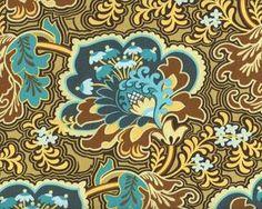 Patchworkstoff BELLE GOTHIC ROSE mit Riesen-Ornament-Blüten, dunkles petrol-braun