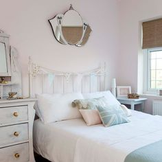 I love the upcycled furniture.This beautiful vintage inspired feminine bedroom is a perfect bedroom space! I love this bedroom. The coral lamp is my favourite piece. Feminine Bedroom, Simple Bedroom Decor, Home Decor Bedroom, Bedroom Ideas, Trendy Bedroom, White Bedroom, Cheap Bedroom Furniture, Upcycled Furniture, Kitchen Furniture