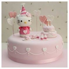 Hello Kitty Birthday cake of Hello Kitty's birthday! Hello Kitty Torte, Bolo Da Hello Kitty, Hello Kitty Birthday Cake, Chat Hello Kitty, Hello Kitty Cupcakes, Hello Kitty Themes, Hello Kitty Fondant, Cake Birthday, 22nd Birthday