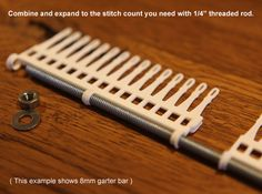 """40 Tine Knitting Garter Bar X 2 - 6.5 mm V2.stl 3d printed Expand with 1/4""""threaded rod"""