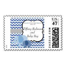 Blue Chevron Elephant Baby Shower Postage Stamp