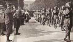 Sikhs march into Paris, France during World War 2