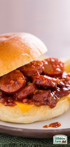 We've got your smoky BBQ fix covered with this delicious Saucy Smoked Sausage Sandwich featuring Hillshire Farm® Smoked Sausage! Find the recipe for this and more tasty ideas here.
