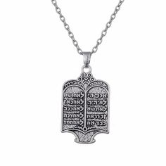 Lemegeton Tibetan Silvery Jewish Torah Scroll 10 Commandments Necklace Ethnic Jewelry