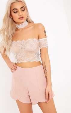 White Eyelash Lace Bralet Crop Top & ChokerChannel elegant and sophisticated style in this eyelas...