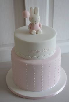 Pastel and pink party cake Baby Girl Christening Cake, Baby Girl Birthday Cake, Baby Girl Cakes, First Birthday Cakes, Bolo Miffy, Miffy Cake, Tortas Baby Shower Niña, Baby Shower Cakes, Party Decoration