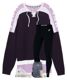 """There was so much drama today at school, we literally had 5 different fights."" by preppyandsouthern17 ❤ liked on Polyvore featuring Victoria's Secret, NIKE, Converse, The North Face, Fujifilm and Kendra Scott"