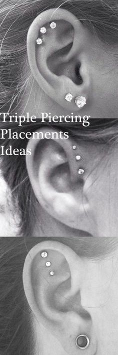 Cute Ear Piercing Ideas at MyBodiArt.com - Triple Forward Helix Earrings - Triple Cartilage Constellation Studs #earpiercings
