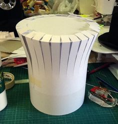 Paper Mache Top Hats | paper mache to cover the whole tube and to shape the crown of the hat ...
