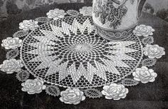 Rose Circle Doily crochet pattern originally published by Lily Design, Book 51, in 1950.
