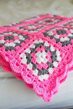 Crochet Granny Squares Blanket Pink,White and Grey Baby Blanket/ Afghan by Mandyssewingroom on Etsy Crochet Simple, Crochet Diy, Baby Afghan Crochet, Afghan Crochet Patterns, Crochet Crafts, Crochet Projects, Motifs Granny Square, Crochet Motifs, Granny Square Crochet Pattern