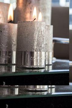 Blokklys sølv, rustikk H6cm