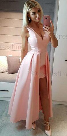 2k18 prom dress, pink prom dress, long prom dress, elegant v neck pink long graduation dress evening dress