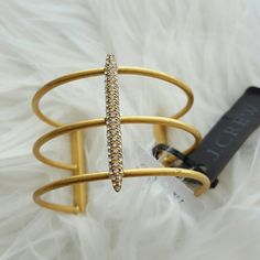 "Factory Triple Golden Cuff Bracelet Brass, glass stone. Light gold ox flash plating. Inner diameter: 2 1/4"" x 2"".  Brand new! Comes with dust bag. J. Crew Jewelry Bracelets"