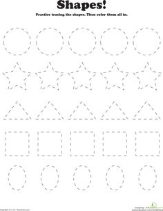 Worksheets: Trace and Color Shapes