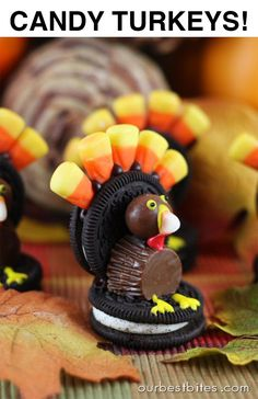 Thanksgiving Craft:  Make an edible Candy Turkey!  Easy and fun for both kids and adults.  From Ourbestbites.com