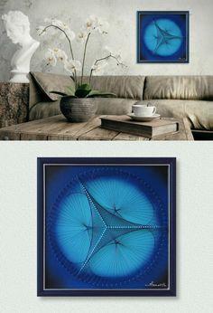Wand-Dekor, moderne abstrakte 3D String Art, Blau und Türkis, Eingerahmt (32x32 cm), fertig zum Aufhängen auch als Geschenkidee