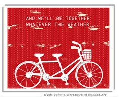 Art For Couples Tandem Bike In Sunshine And In by thedreamygiraffe, $18.00