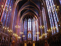 Sainte Chappelle in Paris, France.  This jewel (cliche, I know...) of a tiny chapel, across the street from Notre Dame, is breathtaking. The upper chapel has 15 tall windows that illustrate the story of the Creation to the Passion, with the Passion narrative just above the altar at the front.
