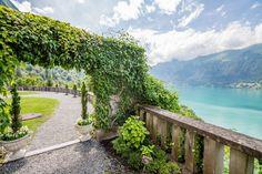 View from the Hotel Giessbach in Berner Oberland, Switzerland. Beautiful Lake Brienz in deep blue colors.  Aussicht vom Hotel Giessbach im Berner Oberland auf den Brienzersee. #inlovewithswitzerland
