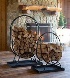 Large Tubular Steel Oval Wood Rack With Cover Indoor Log Storage, Firewood Holder, Into The Woods, Fireplace Hearth, Tubular Steel, Built In Storage, Storage Spaces, Decoration, Oval Shape