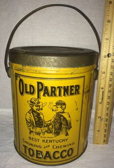 OLD PARTNER KENTUCKY TOBACCO TIN LITHO CAN UNION CONFEDERATE CIVIL WAR SOLDIERS