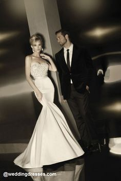 Sweetheart strapless gown with intricate bodice beading, fit and flare skirt