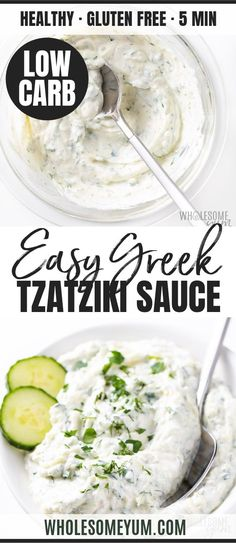 Easy Greek Tzatziki Sauce Recipe | Wholesome Yum Greek Recipes, Low Carb Recipes, Cooking Recipes, Healthy Recipes, Vegetarian Recipes, Healthy Sauces, Vegetable Recipes, Tzatziki Recipes, Easy Tzatziki Sauce Recipe