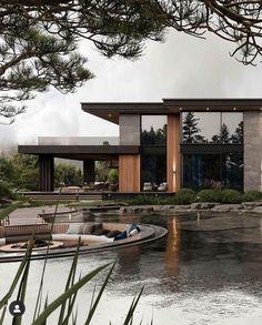 Modern Exterior House Designs, Modern Villa Design, Modern Architecture House, Exterior Design, Architecture Design, Modern Home Exteriors, Dream House Interior, Dream Home Design, Dark House