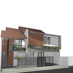 WIP BB HOUSE -@kadekkusumayatra #tropis #arsitekturtropis #arsitekturindonesia #rightanglestudio Brick Architecture, Residential Architecture, My Home Design, Modern House Design, Facade Design, Exterior Design, Lampang, Modern Minimalist House, Duplex House Plans