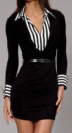 Las faldas o vestidos deben tener el largo apropiado. Pero ese look esta excelente. b/w