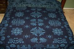 Antique-Hand-Woven-Blue-Blanket-Coverlet-Signed-1838-Reversible-ASIS