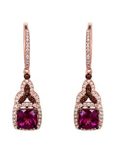 Le Vian -  14 Kt. Strawberry Gold Rhodolite Diamond Drop Earrings | Lord and Taylor