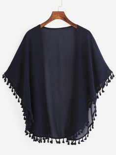 SheIn offers Tasseled Trimmed Open Front Chiffon Kimono & more to fit your fashionable needs. Fast Fashion, Boho Fashion, Fashion Online, Fashion Outfits, Fashion Design, Chiffon Kimono, Kimono Top, Mode Kimono, Mode Hijab