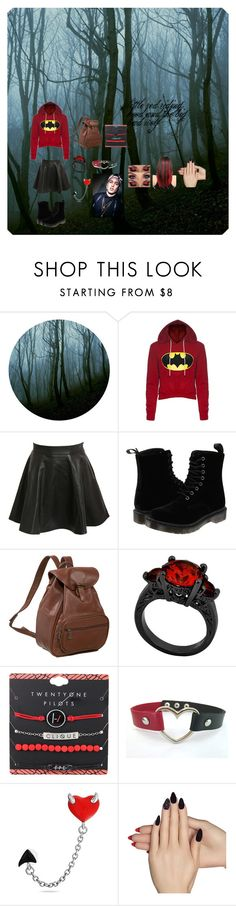 """red riding hood and the big bad wolf"" by cloudy-caylen on Polyvore featuring Pilot, Dr. Martens, AmeriLeather, Bling Jewelry and Static Nails"