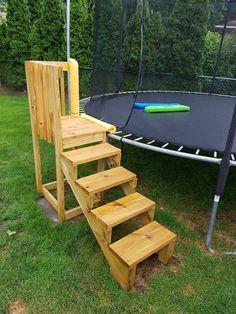 Trampoline Steps, Backyard Trampoline, Backyard Playground, Swimming Pools Backyard, Backyard For Kids, Garden Pool, Backyard Projects, Outdoor Projects, Backyard Patio