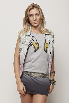 Blusa 2 águias e colete jeans #AnnaBellaLoja