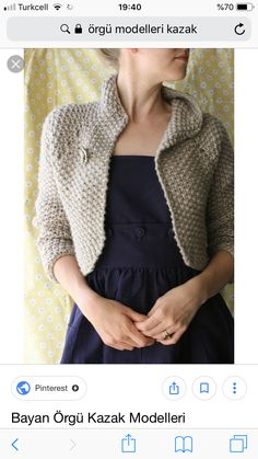 Knitting pattern for Snowdrift Shrug - Hilary Smith Callis designed this shrug that is a knit quickly top down in seed stitch and super bulky yarn for Knitscene Winter 33 bust circumference. Easy Scarf Knitting Patterns, Shrug Knitting Pattern, Easy Knitting Projects, Diy Sewing Projects, Lace Knitting, Knitting Stitches, Crochet Hat Tutorial, Crochet Headband Pattern, Popular Crochet