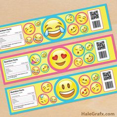 FREE printable emoji water bottle labels