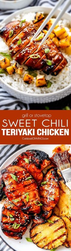 5 Minute prep Easy Teriyaki Chicken infused with Sweet Chili Sauce for added depth of flavor and YUM! The marinade doubles as the sauce for an easy family favorite that tastes better than takeout! My family loves this with rice and stir fried veggies and I love it on salad or in wraps! via @carlsbadcraving