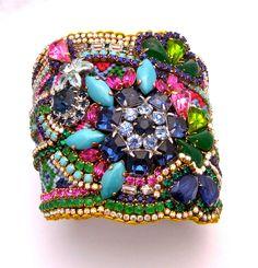 Custom Vintage Rhinestone Cuff Bracelet One of a by MStreetStudio, $400.00