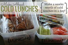 Pre making lunch items.  I've done this to some degree but it would be a great thing to have most prep done ahead of time for a full week.  This is great for after school/pre-practice on-the-run snacks too.
