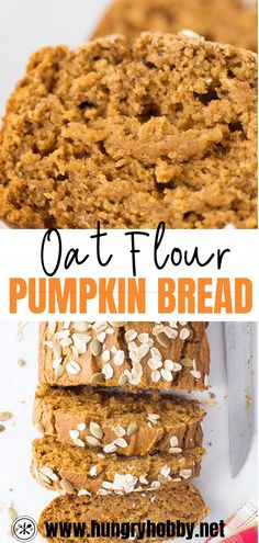 This pumpkin oat flour bread is a deliciously hearty and healthy quick bread filled with pumpkin spice flavors like nutmeg, cinnamon, & allspice in every bite. No refined flour, sugar, or oil! Oat Flour Recipes, Oats Recipes, Baking Recipes, Oat Bread Recipe, Bread Recipes, Healthy Sweets, Healthy Dessert Recipes, Healthy Baking, Gluten Free Baking