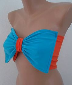 Bow bandeau Orange and blue Bow bikini tops by CarnavalBoutique, $30.00